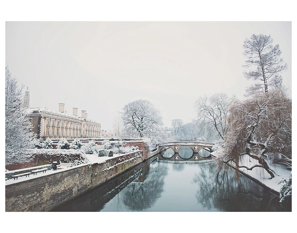 winter cambridge river snow university photo print - whimsical fine art architecture photography, reflection, landscape, england - 14x11 - oohprettyshiny