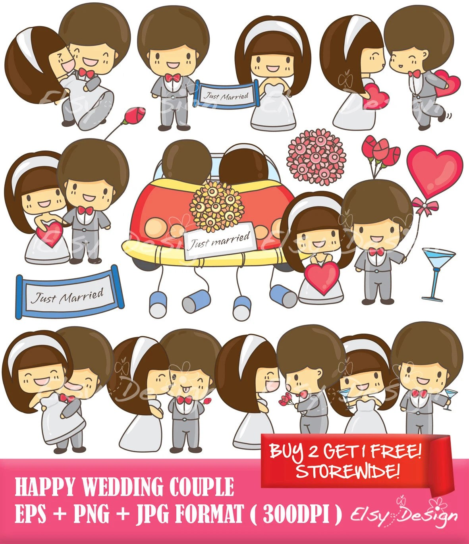 Items Similar To Happy Wedding Couple Clip Art Instant