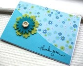 Spring Thank You Card - Blue and Green Flowers - stuffannaloves