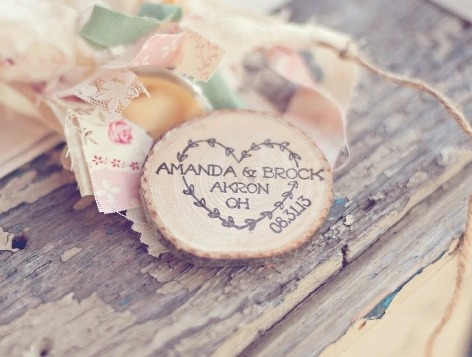 Featured on Heart Love Weddings- Set of 50 Rustic Wood Slice Save the Date Magnets with Heart by PNZ designs - PNZdesigns