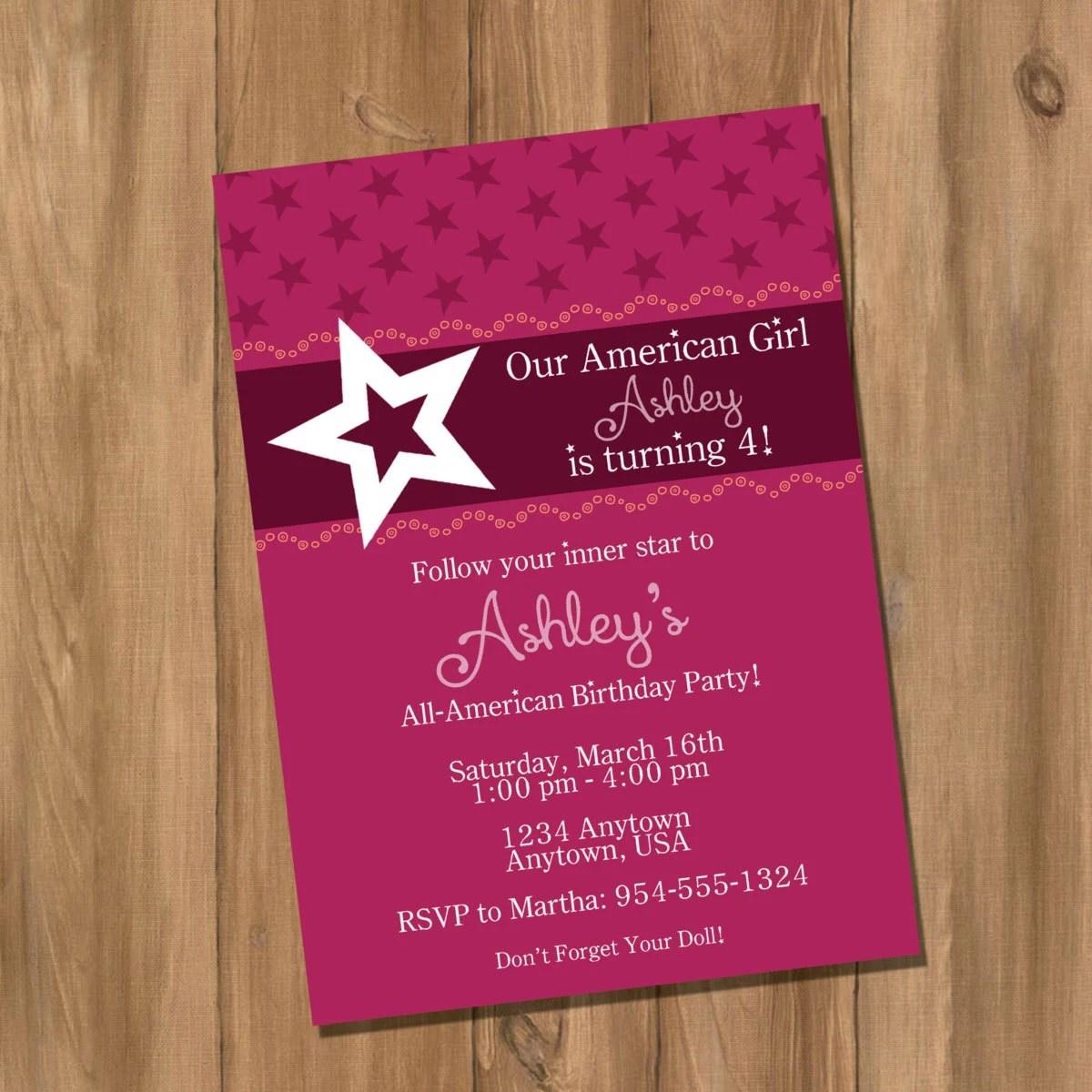 American Doll Girl Birthday Party Invitation Digital Diy