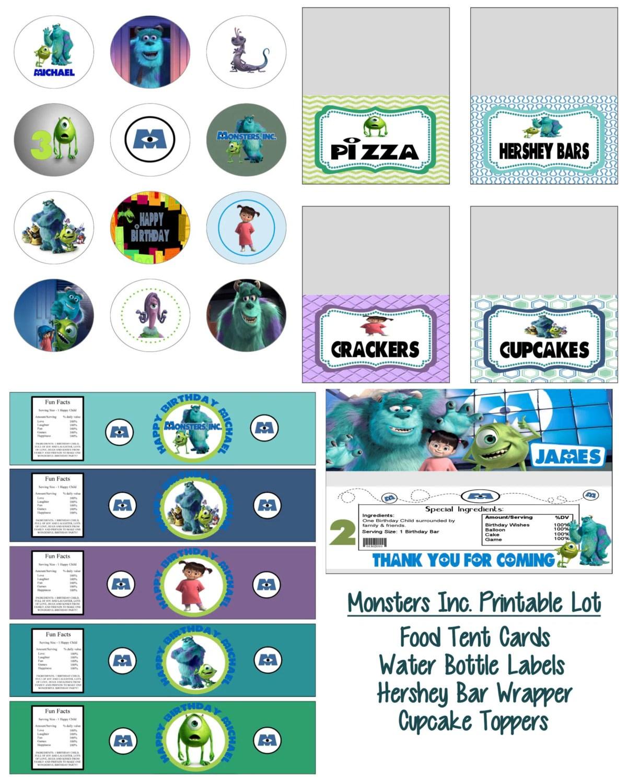 Disney Pixar Monsters Inc Birthday Party Printable Lot Favors