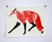 Fox Trot. Large Handmade Silkscreen Print. - AliciaMakes
