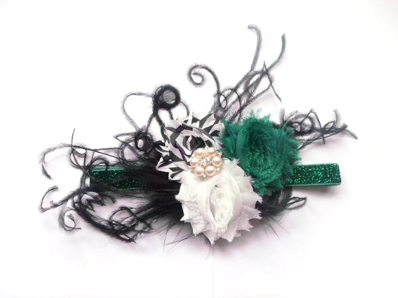 shabby rose headband emerald green black chevron shabby flowers girls shabby rose headband with feathers green black shabby rose headband - LightningBugsLane