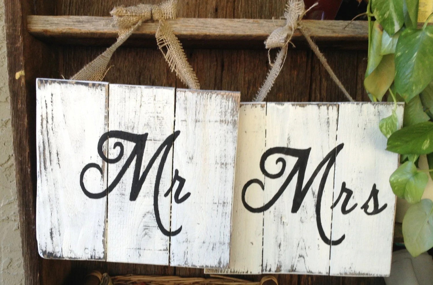 Mr And Mrs Wooden Signs Wedding Signs By RescuedandRepurposed