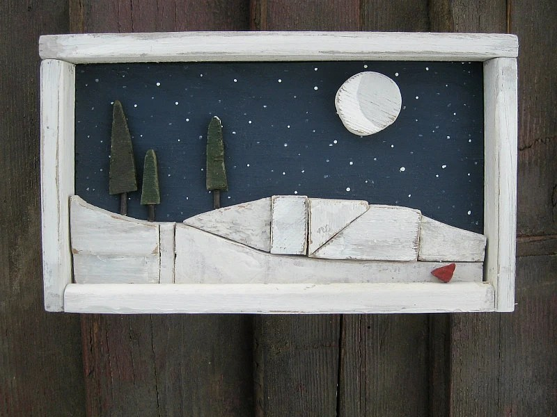 "Upcycled Wood Picture Pine Trees Snow Hills Night Sky Half Moon Red Cardinal in Rustic Painted Wood Shadow Box Frame, ""Wintry Moon Beams"" - sunprairievintage"