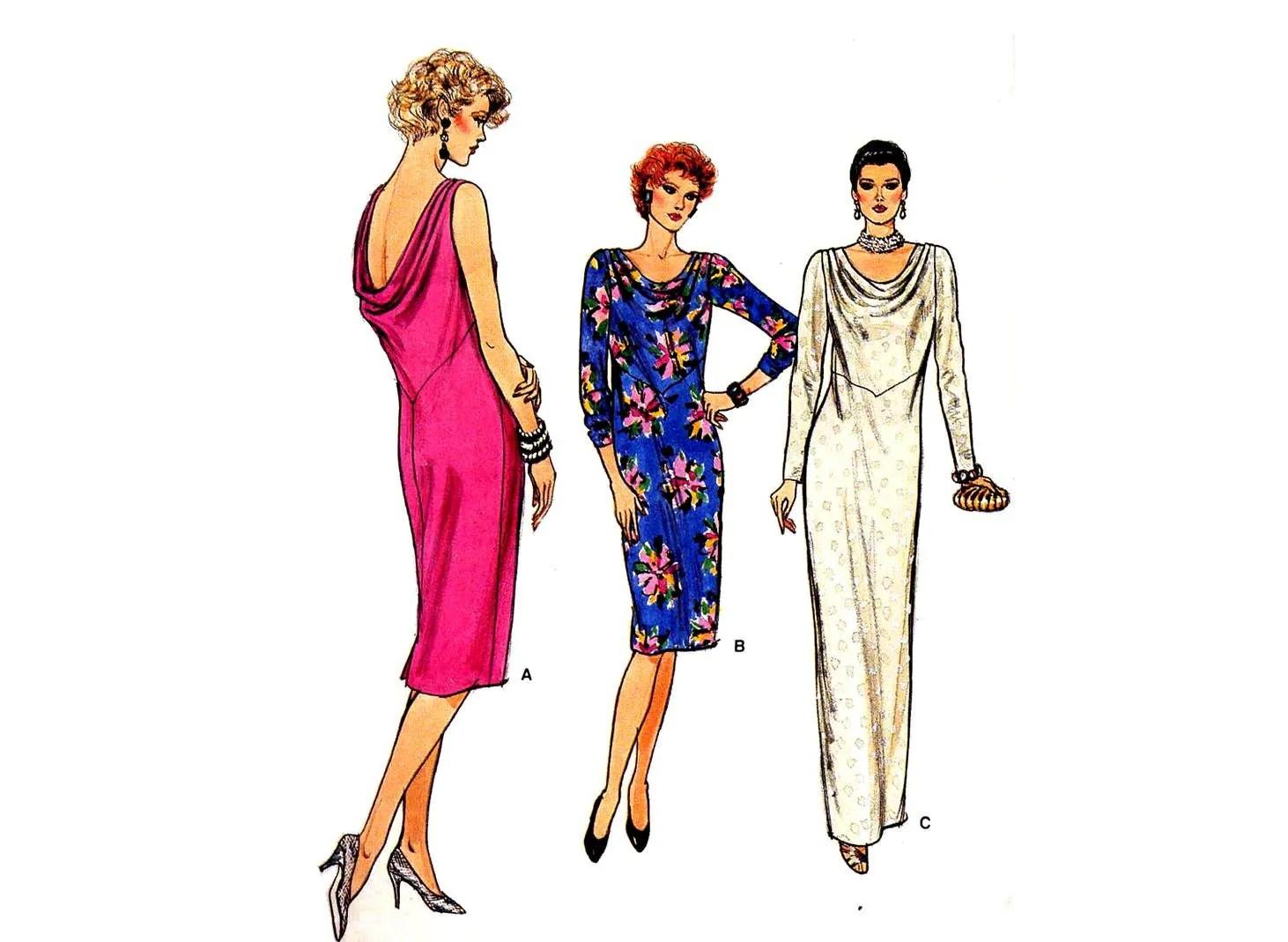 Vintage 1980s Vogue Cowl Neck Drape Back Dress Sewing Pattern