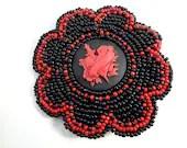 Tattoo Red Heart Black Beaded Hair Clip - Gothic Hair Accessory - MegansBeadedDesigns