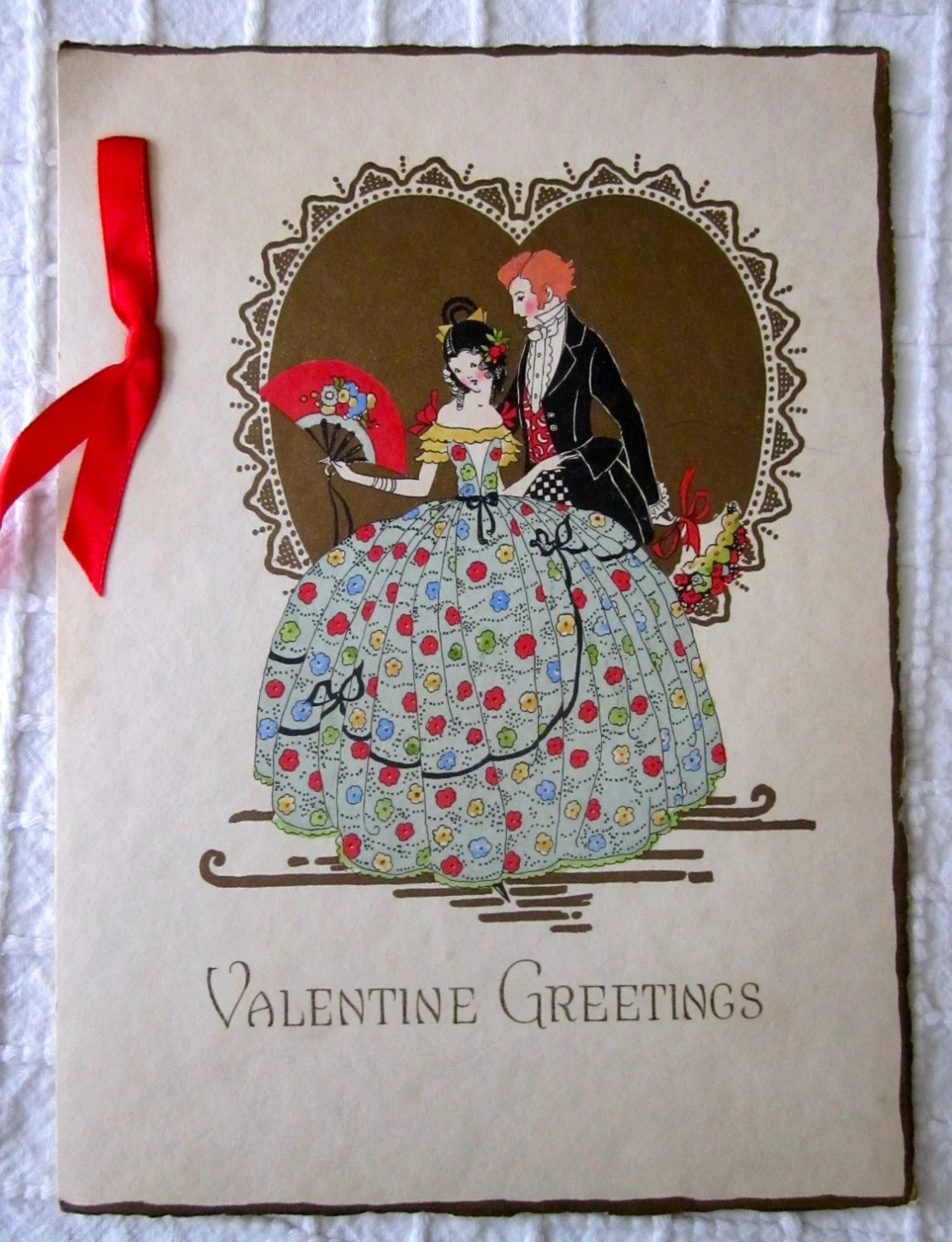 1920 Art Deco Unsigned Valentines Day Card By CornermouseHouse