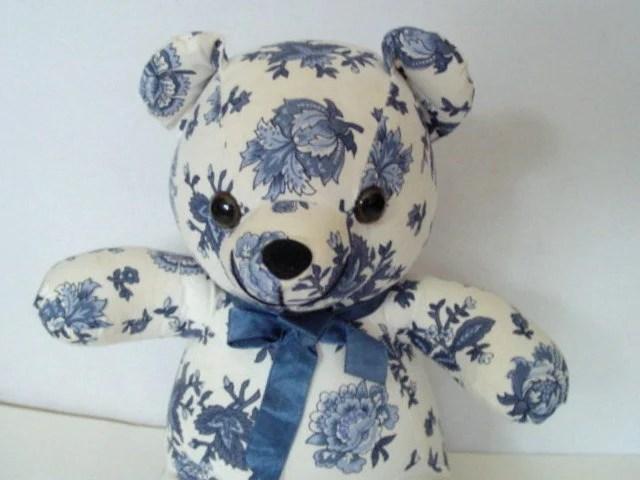 SALE Vintage Floral Fabric Teddy Bear Shabby Chic Nursery