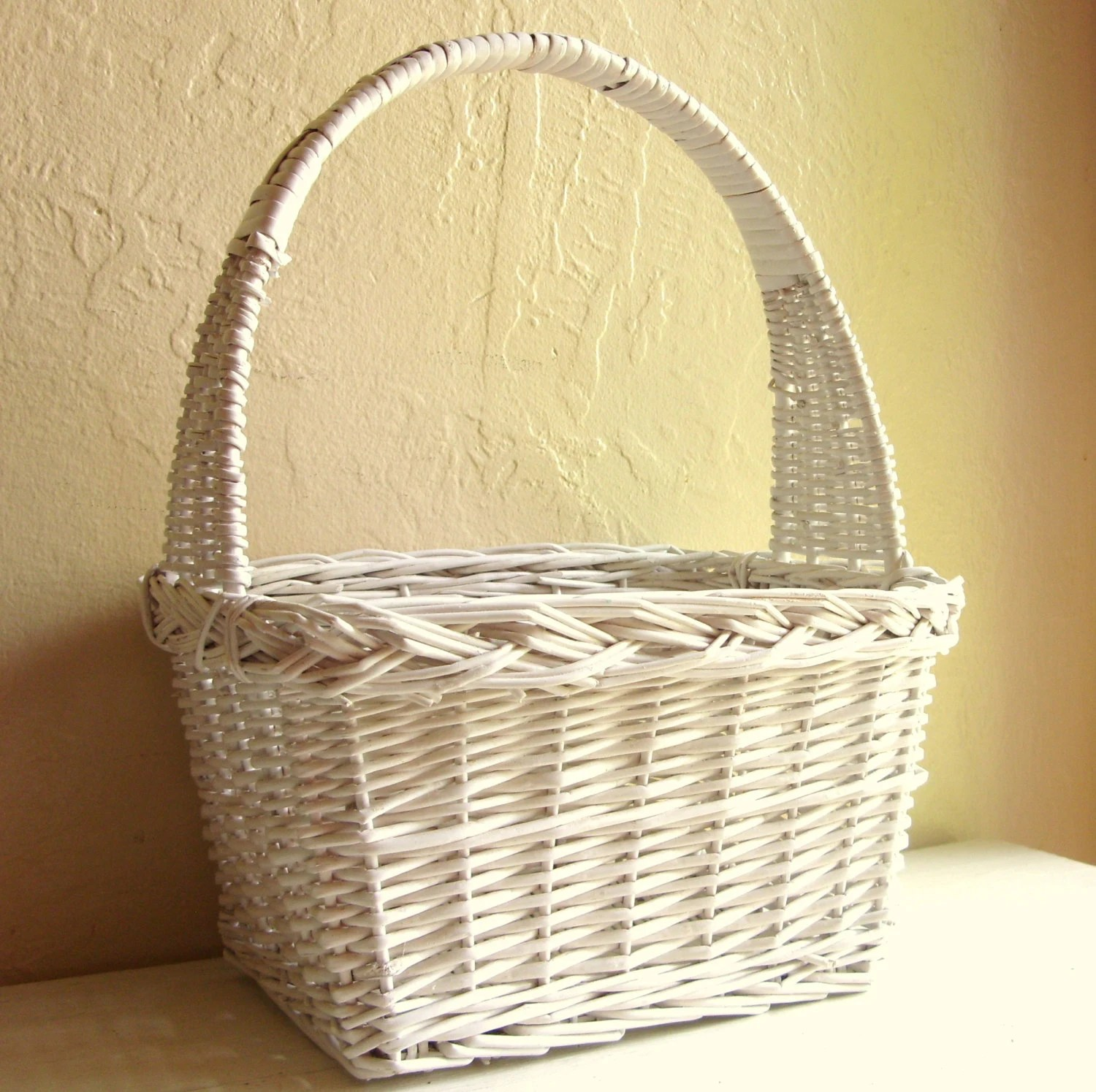 Large Classic White Wicker Basket With Tall Handle By ShabbyNChic