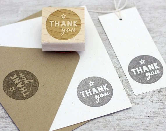 Thank You Rubber Stamp: Wood Mounted - Round Stamp, Circle, Star, Modern Typography, DIY Gift Tags, Grey, DIY Stationery - sweetharvey