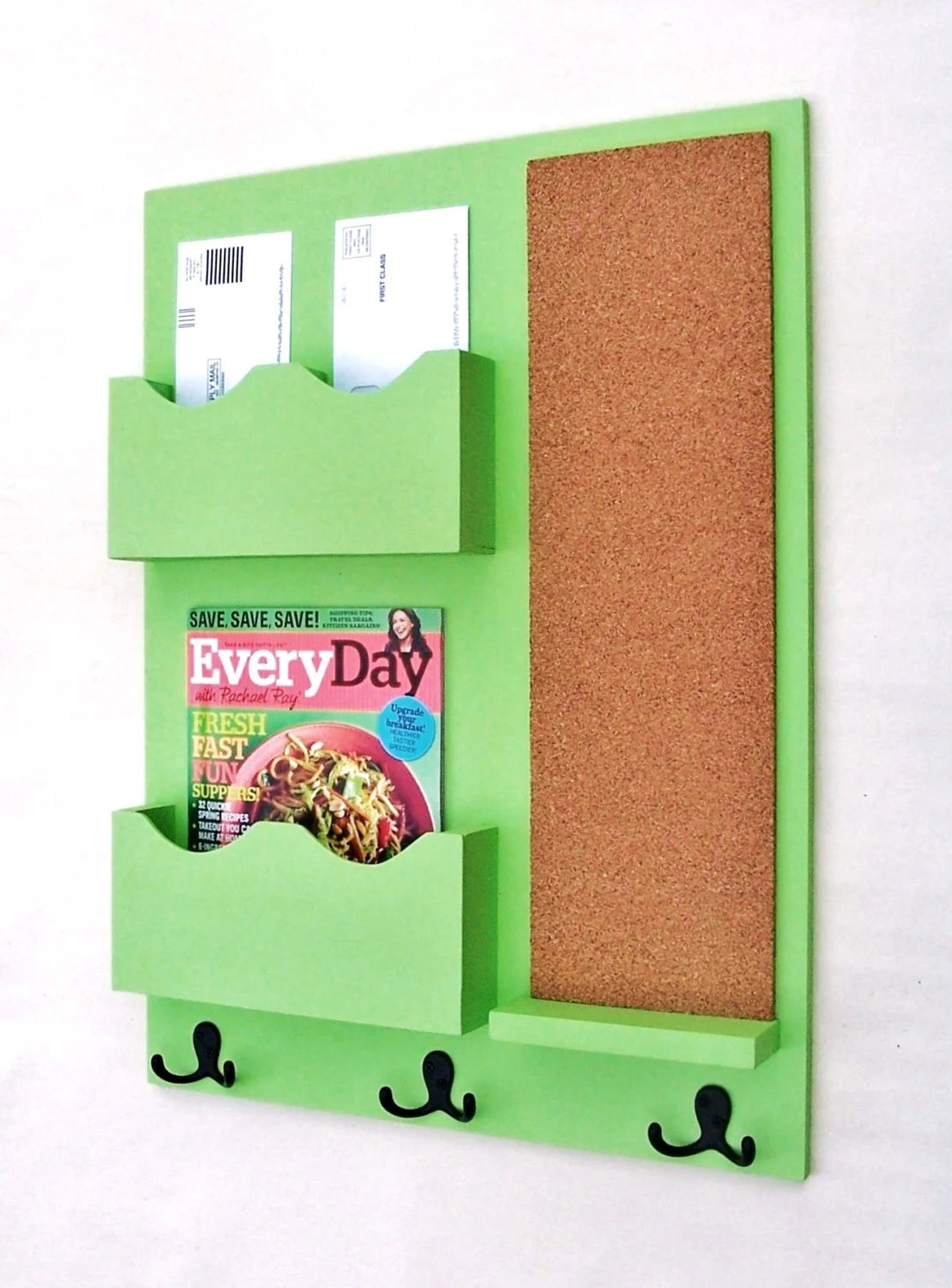 Mail Organizer - Mail Holder - Letter Holder - Mail Sorter - Cork Board - Key Hooks - Coat Hooks - Key Hooks