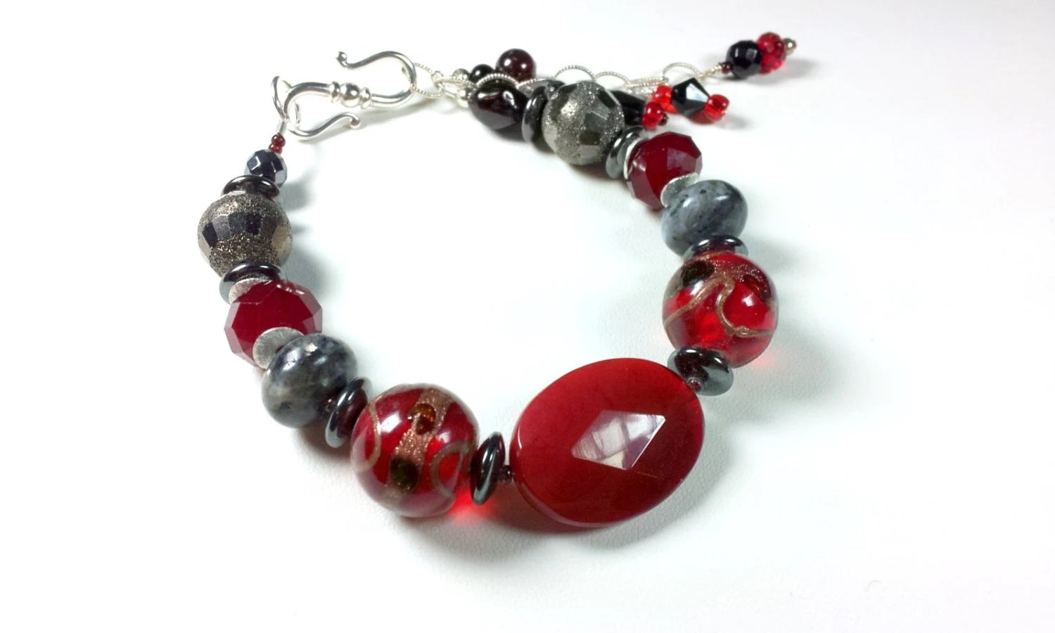 Red Agate Bracelet, Chunky, Red  Lampwork, Moss Agate, Hematite Stones - austinleighdesigns