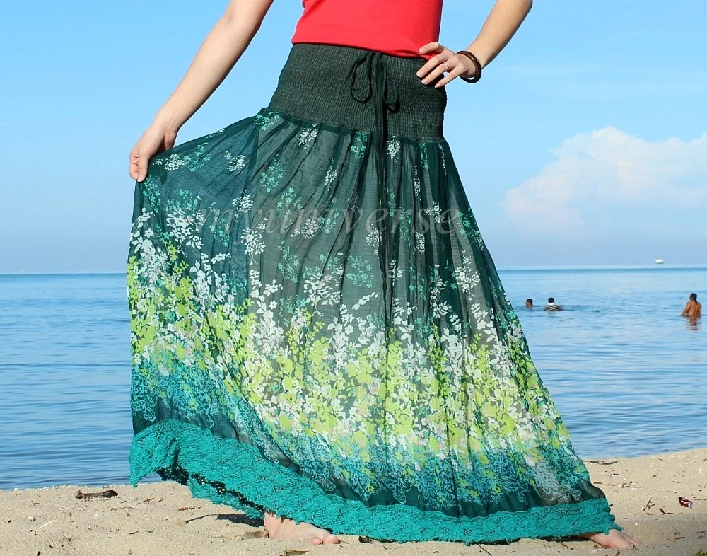 Maxi Skirt Green Floral Long Skirt/ Fall Party Women Skirt Gifts Idea Skirt Chiffon Summer Boho Handmade - myuniverse