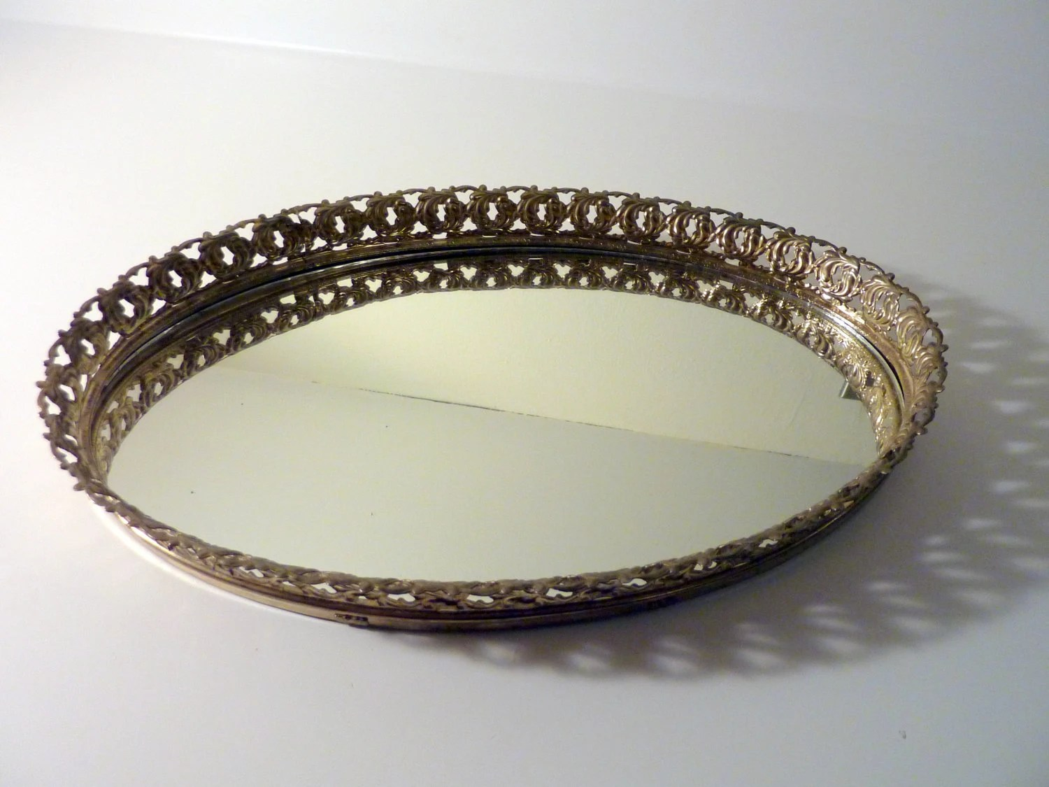 Vintage Gold Metal Filigree Oval Vanity By FloydJonesVintage