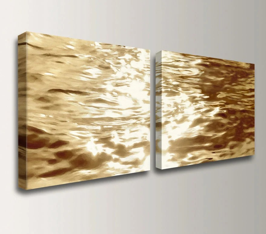Beach Art - Canvas Print - Gold Water Reflections - Wall Decor Set - Pair of 2 Canvas Prints -