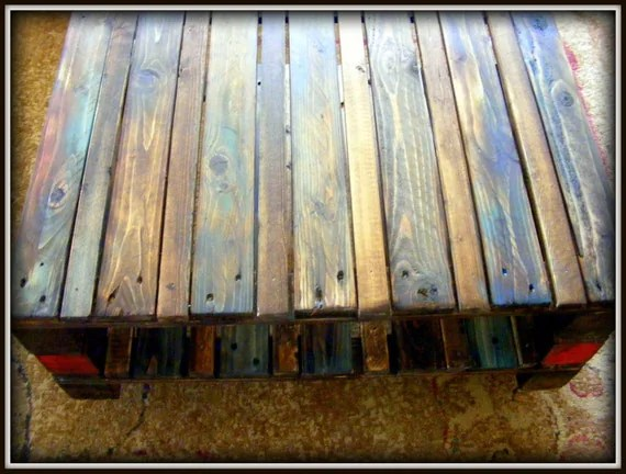Multi Color Reclaimed Pallet Wood Table On Casters
