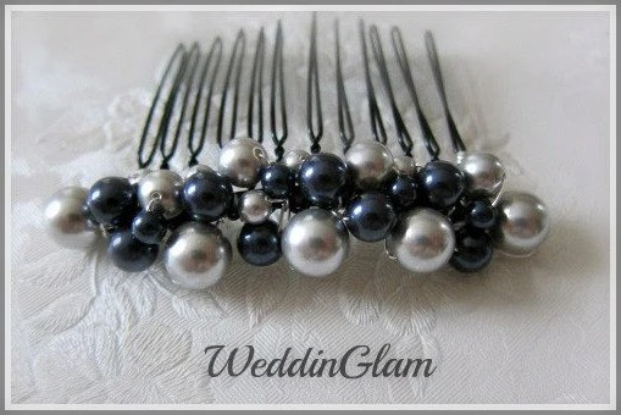 Bridal Hair Comb Wedding Hair Accessories Navy Blue By