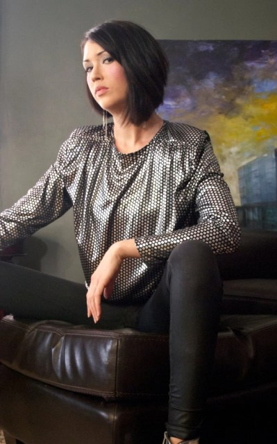 Amazing 80s Black and Silver Polka Dot Blouse with Shoulder Pads