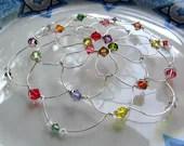 GYPSY swarovski colors wire kippah, red orange purple yellow green, bat mitzvah headpiece - downtoearthcreations