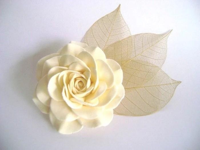 Ivory Rose and Skeleton Leaves Bridal Hair Clip.Wedding Hair Fascinator - parsi