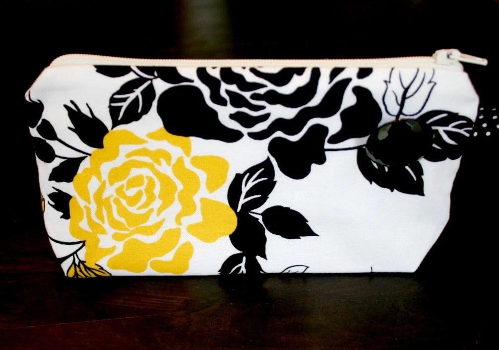 Yellow Rose Small Wristlet Black and White Polka Dot Zipper Closure Handle Makeup Cosmetic Case - andreacreates