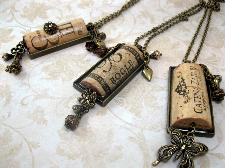 Wine Cork Jewelry/Wine Cork Necklace/Bridesmaid Gift/Swag Bag