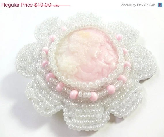 Spring Clearance - Pretty Soft Pink Cameo Beaded Hair Clip - Perfect for Brides or Flower Girls - MegansBeadedDesigns