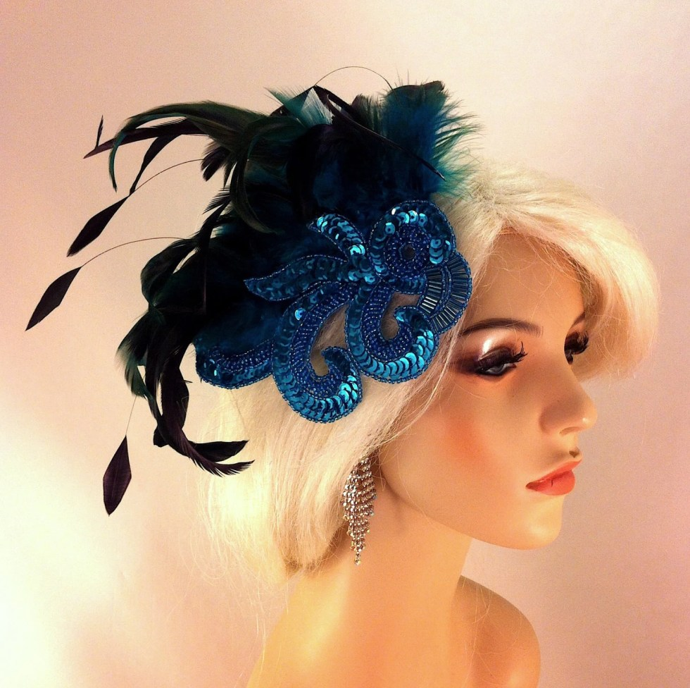 Fascinator, 1920s Flapper Headpiece, Vintage Style, Great Gatsby, Gatsby Headpiece, Downton Abbey Style, Sequined Art Deco