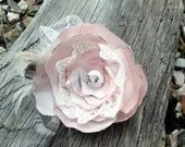 Handmade Soft Pink and Cream Vintage Style Fabric Hair Flower - poppylimedesign