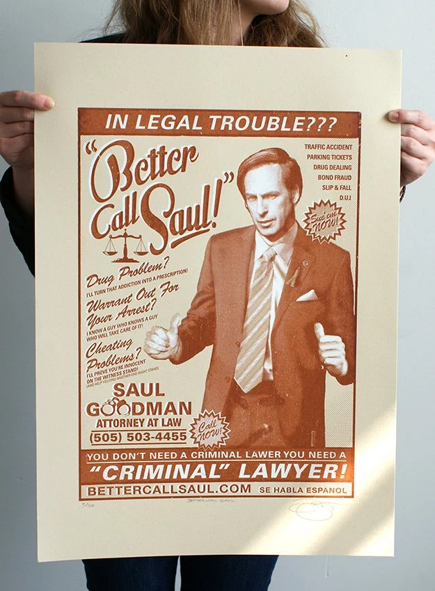 Breaking Bad 'Better Call Saul' Hand Pulled Limited Edition Screen Print - BarryDBulsara