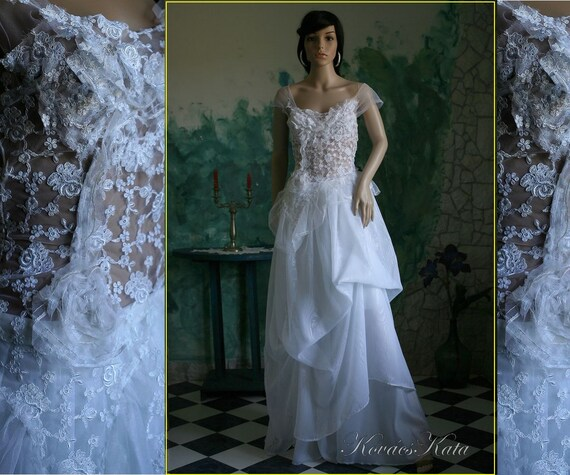 Ethereal Two Parted White Lace Wedding Gown Ida