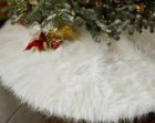 4' Shaggy White Mongolian Round Christmas Tree Skirt