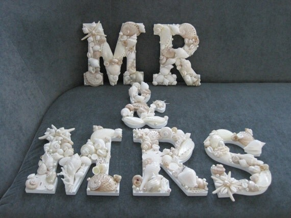 Beach Decor Shell Letters MR & MRS White Shell By LiveCoastal