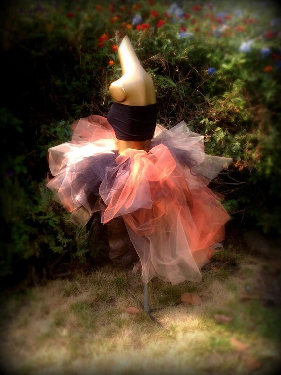 Adult Tutu High Low Tutu Orange Gold Peach Black Halloween