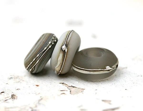 Grey Trio Big Hole Beads, handmade lampwork glass beads for Bracelets by MayaHoney - MayaHoneyJewelry