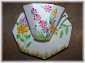 Pretty Hand Painted Vintage Tea Cup & Saucer Floral Motif Melba England - ATokenOfLove