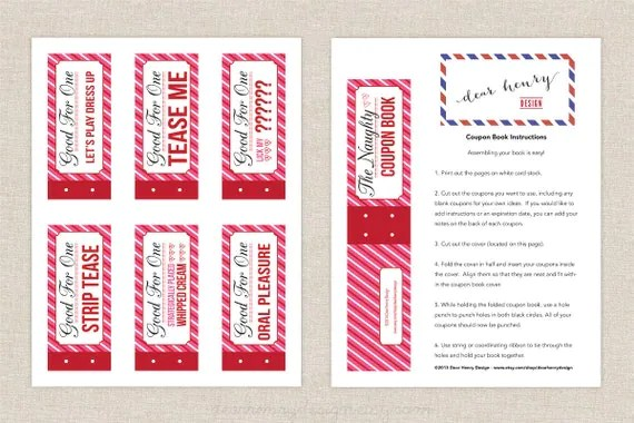 Naughty Coupon Book Printable Valentines Day By