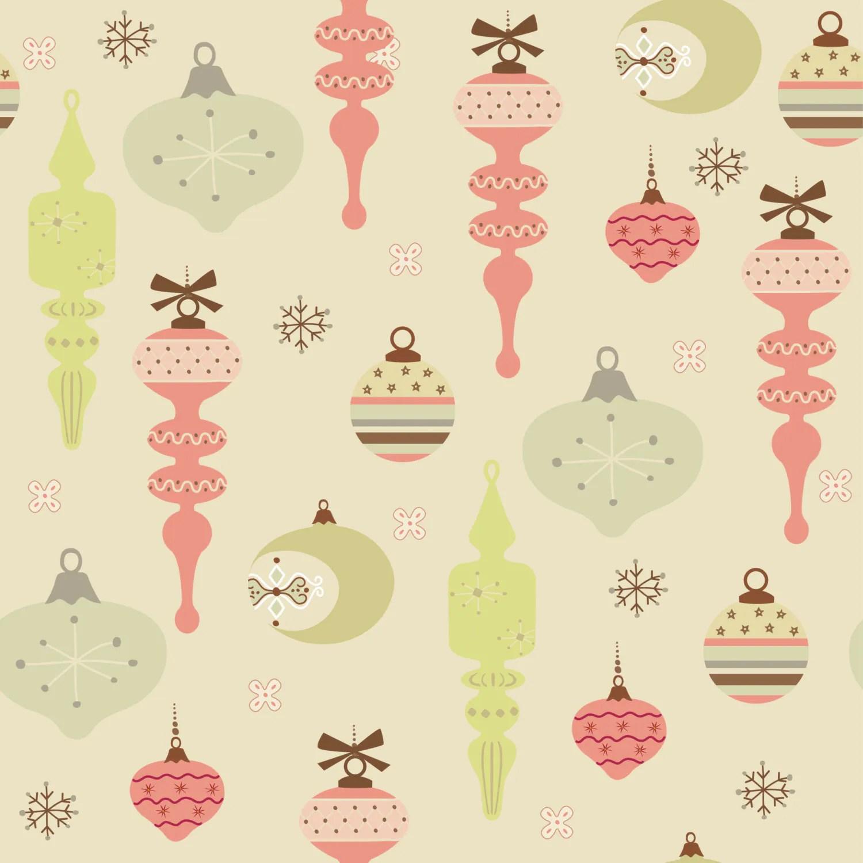 Printable Seamless Christmas Ornament Pattern Vintage Style