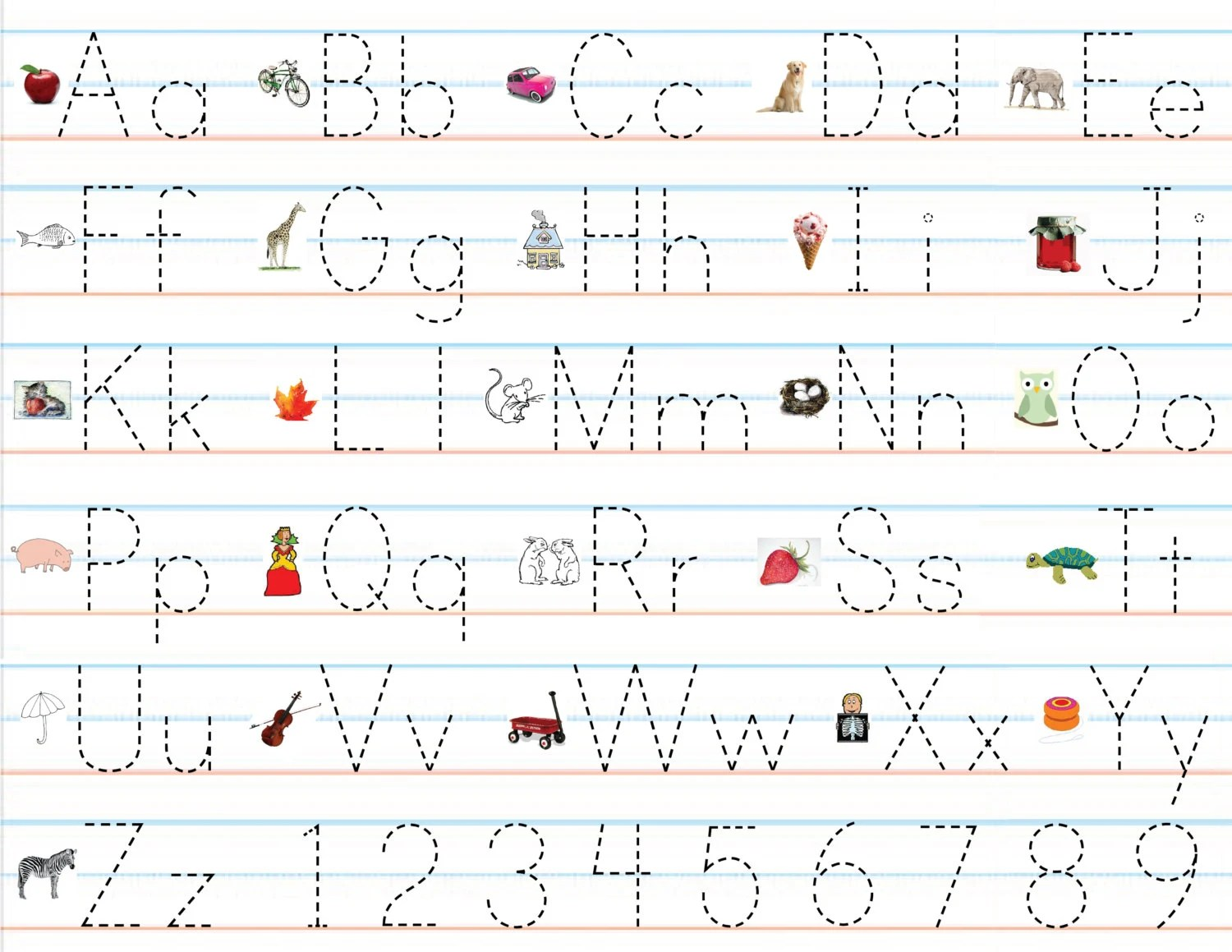Items Similar To Laminated Alphabet Amp Number Sheets For Writing Practice And Placemats