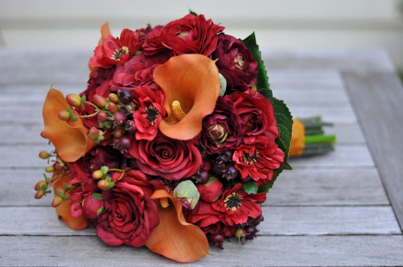 Vibrant Fall Wedding Bouquet Keepsake Bouquet Bridal