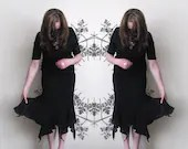 Vintage black gothic skirt with tails, long sheer skirt from 70s - plot