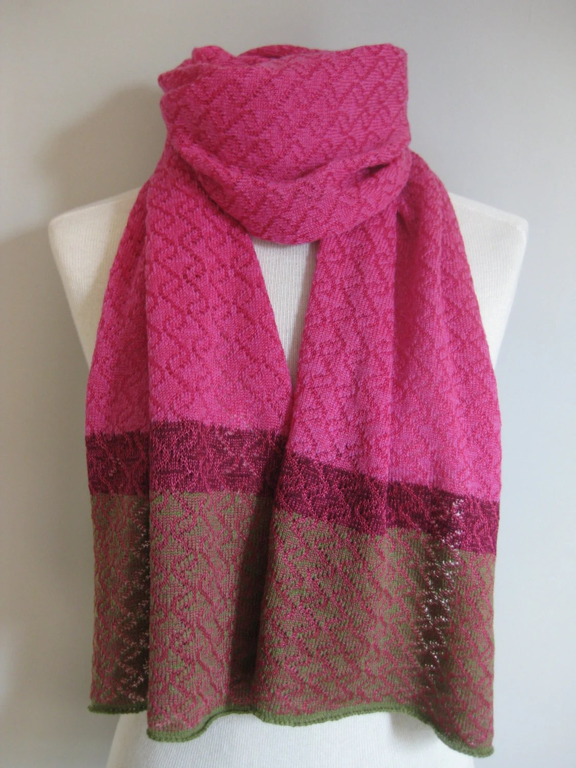 Cashmere scarf. Pink, plum and green cashmere and fine viscose ripple pattern handmade knitted womens scarf. Contrast borders - KMJknitwear