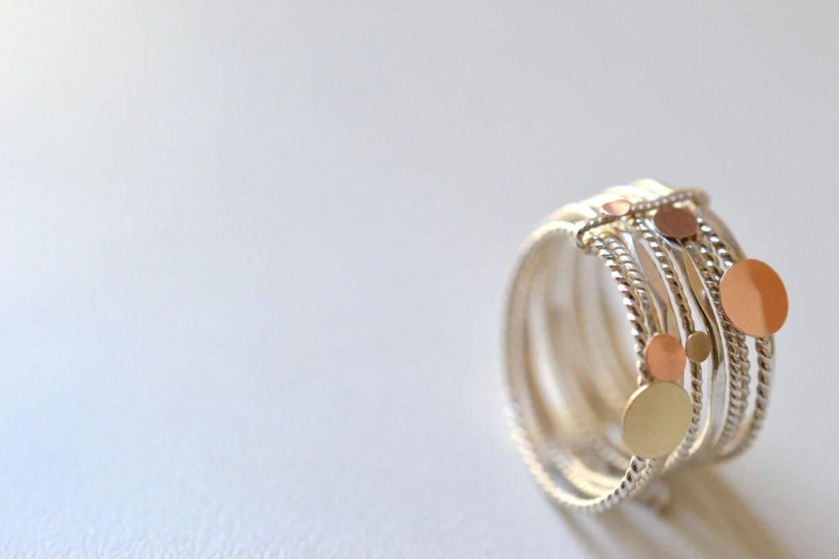 bague anneau or et argent