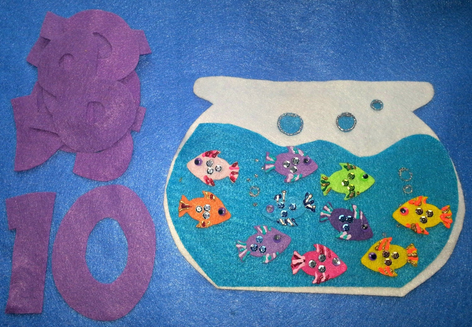Felt Board Story Set Ten Little Fish In A Fish Bowl Counting