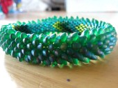 Magical Green Teal Dragon Scale Bangle Bracelet - tattooedraven