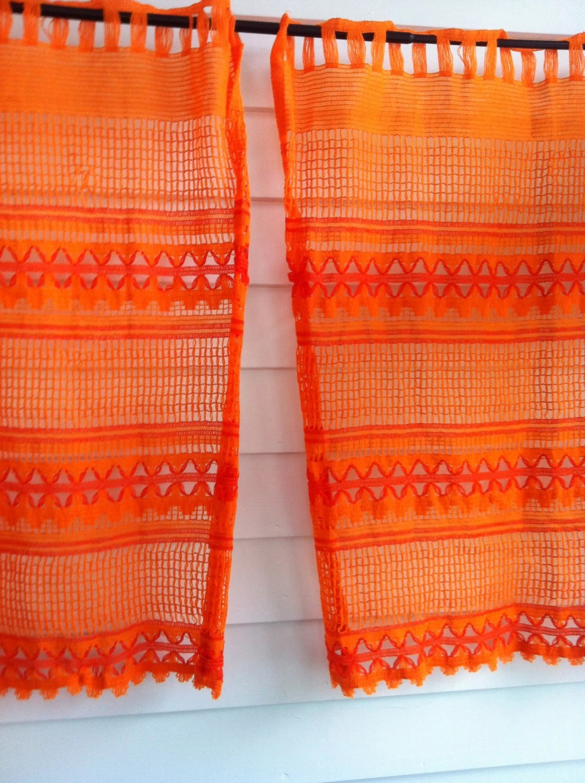 Vintage Orange Curtains Orange Knit Curtains Orange Weave