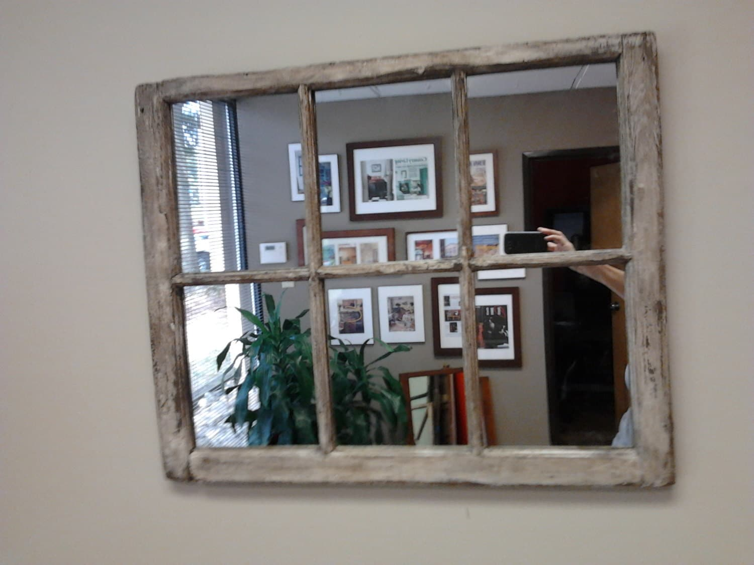 heavy distressed 6 pane window mirror by thedecorativecompany