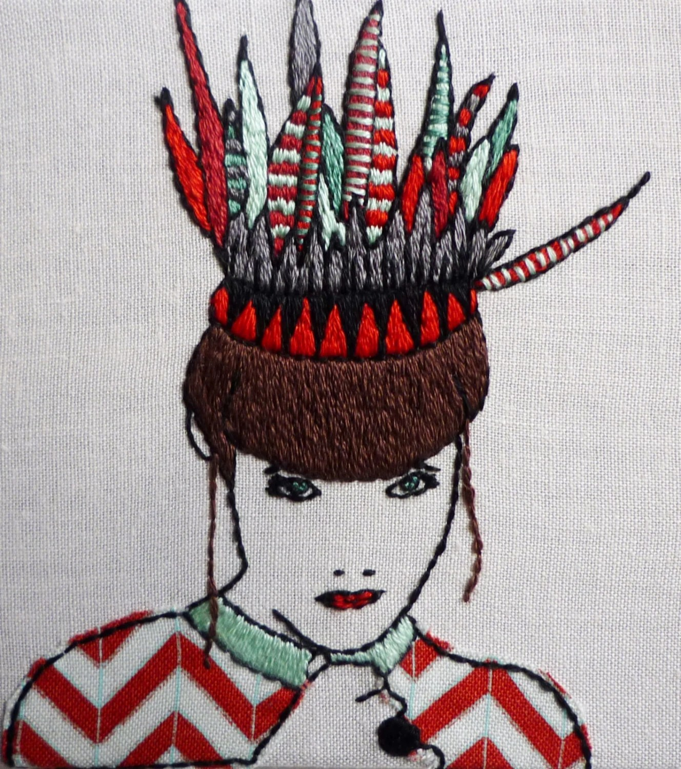 Modern Embroidery, 'Fifi' 4x4inch by Cheese Before Bedtime